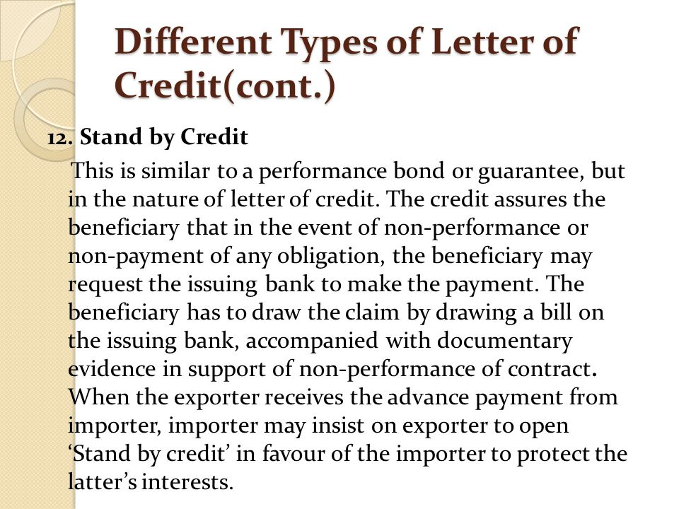 different types of letters of credit Interactive webinar on letters of credit,  different types of letters of credit  special types of letters of credit and trade finance.