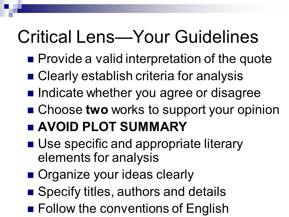 writing the critical lens essay ppt  3 critical