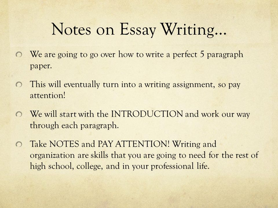 writing the perfect 5 paragraph essay Writing a perfect essay requires critical thinking skills, reading proficiency, written communication skills, and the ability to organize your thoughts into a clear and concise narrative most of us don't enjoy writing essays, but knowing how to do it right will make a huge difference in your schooling and in your career.