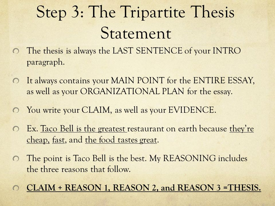 tripartite thesis statement What could be used as a thesis statement for  collection could be referred to in discussing this statement  was composed in a tripartite form, with.