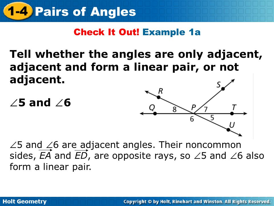 1-4 Pairs of Angles Warm Up Lesson Presentation Lesson Quiz - ppt ...