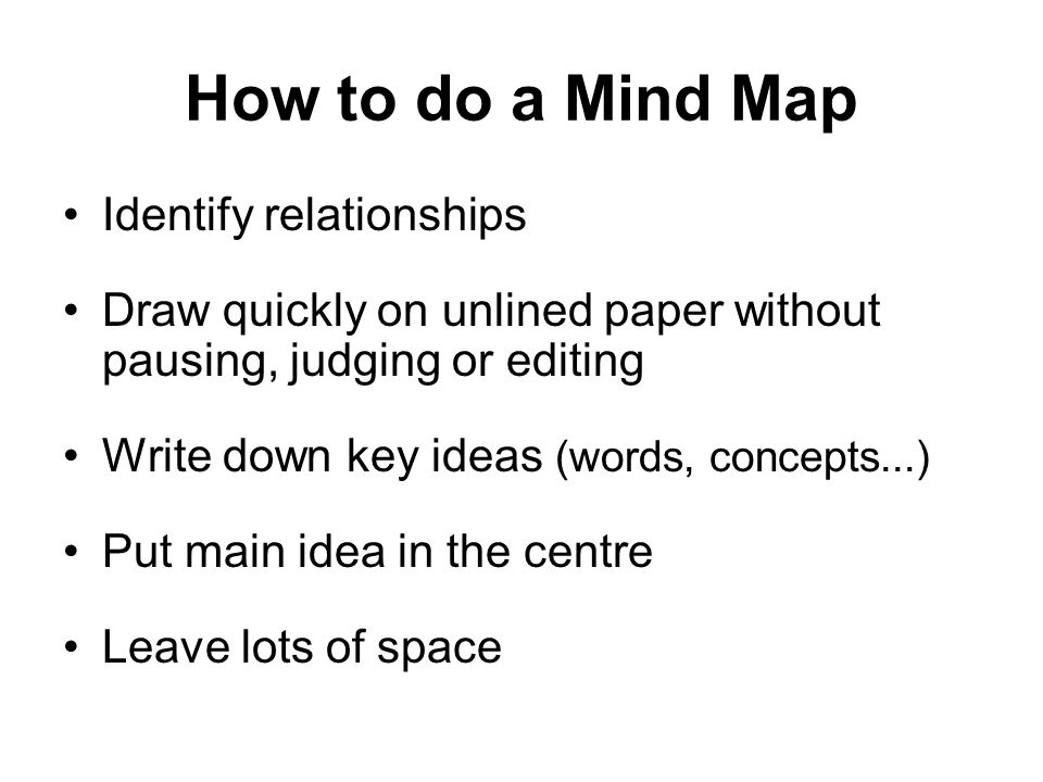 How to do a Mind Map Identify relationships