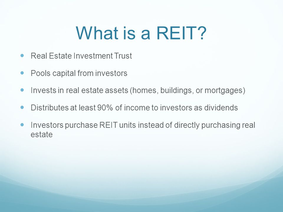 Real Estate Reit : Real estate investment trusts ppt download