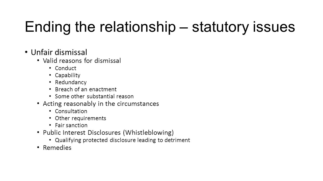 Ending the relationship – statutory issues