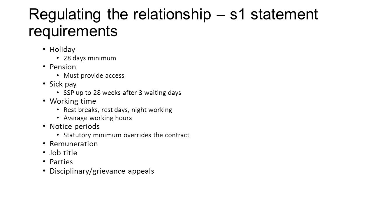 Regulating the relationship – s1 statement requirements