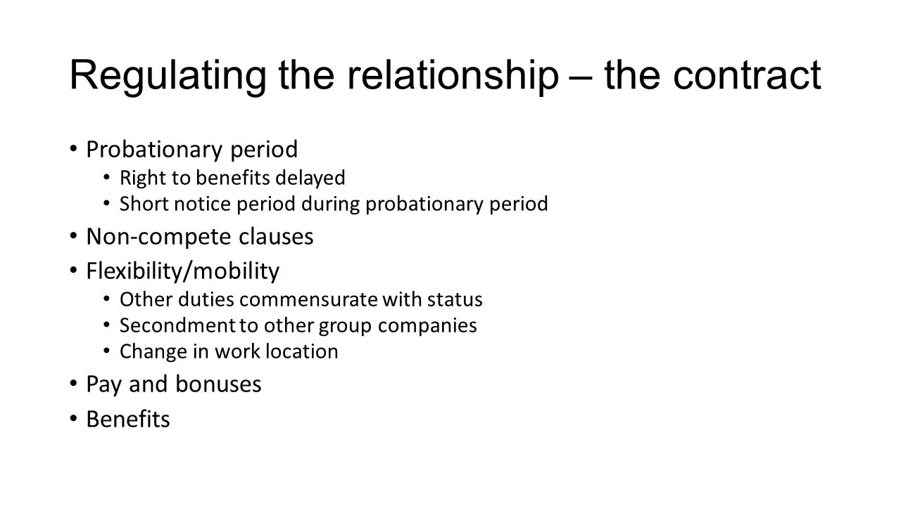 Regulating the relationship – the contract
