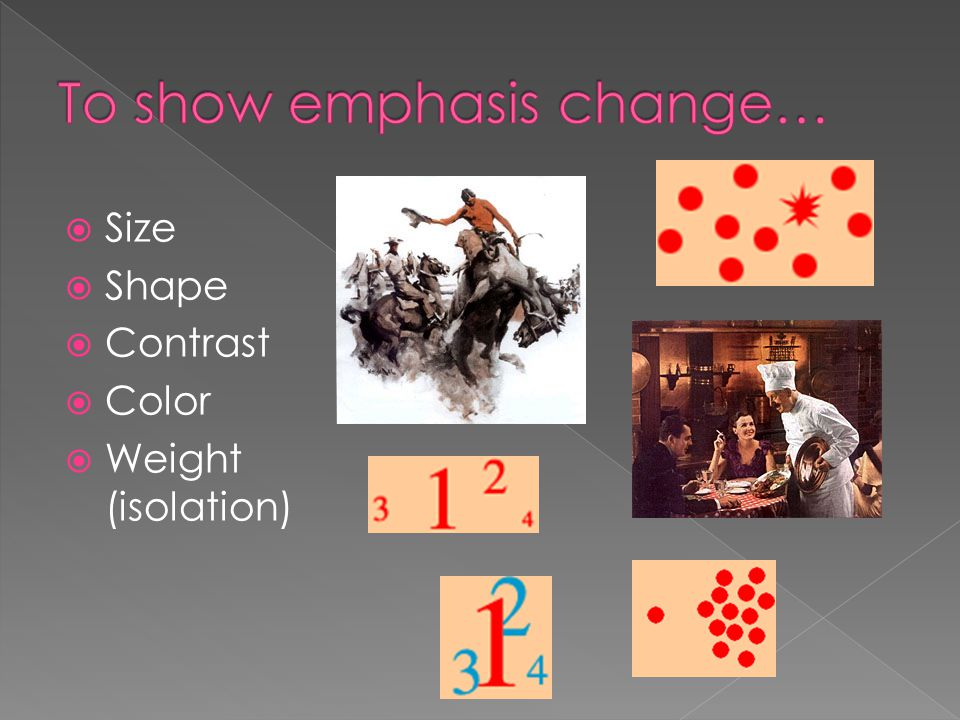 To show emphasis change…