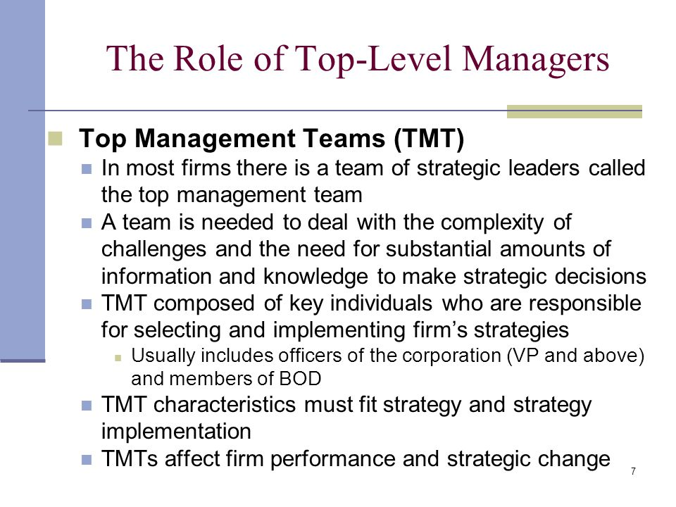 the role of top management in The role of top management team's information technology (it) infrastructure view on new product development: conceptualizing it infrastructure capability as a mediator author(s): serdar s durmuşoğlu (management and marketing department, university of dayton, dayton, ohio, usa).