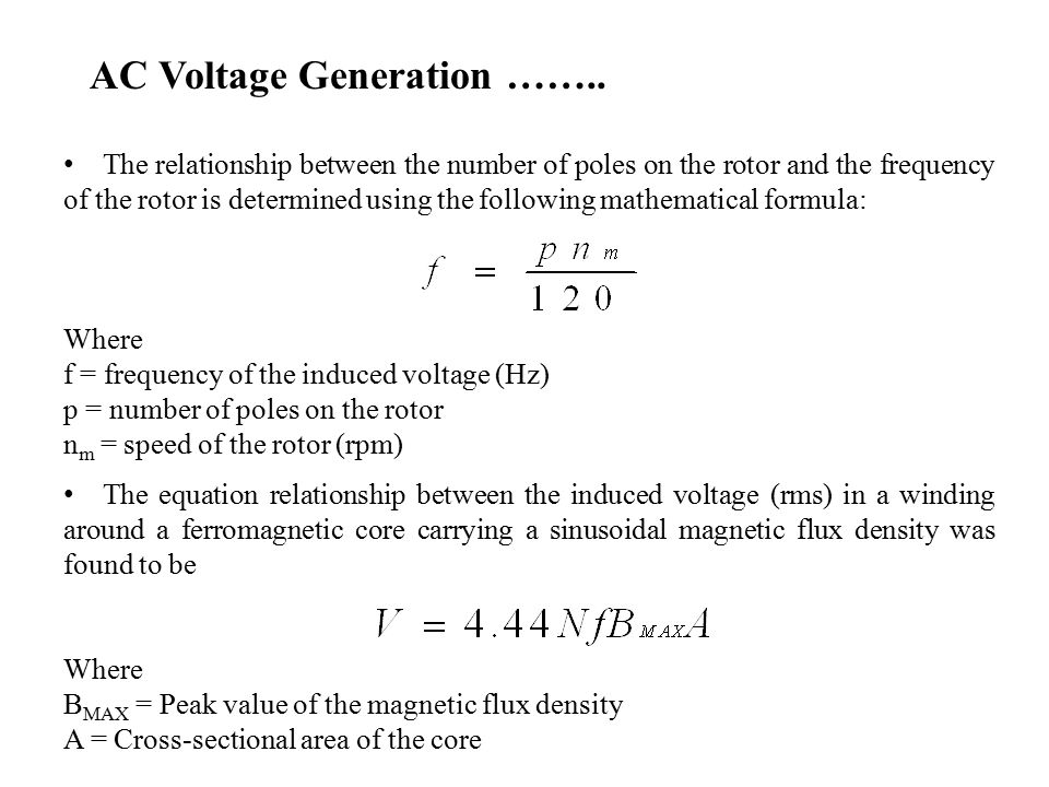 voltage frequency relationship formula 1