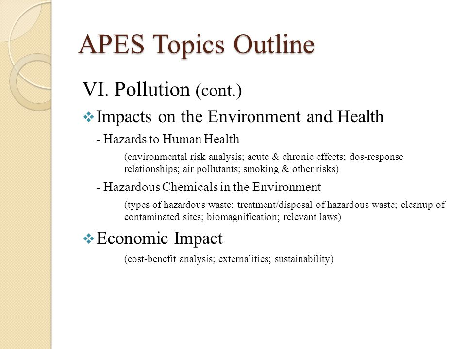 Topic outline about pollution Term paper Service - September