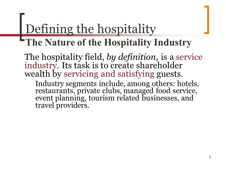 unit 9 how the hospitality industry