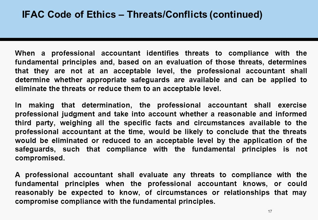 Sefeguards threats for ethical compliance in financial