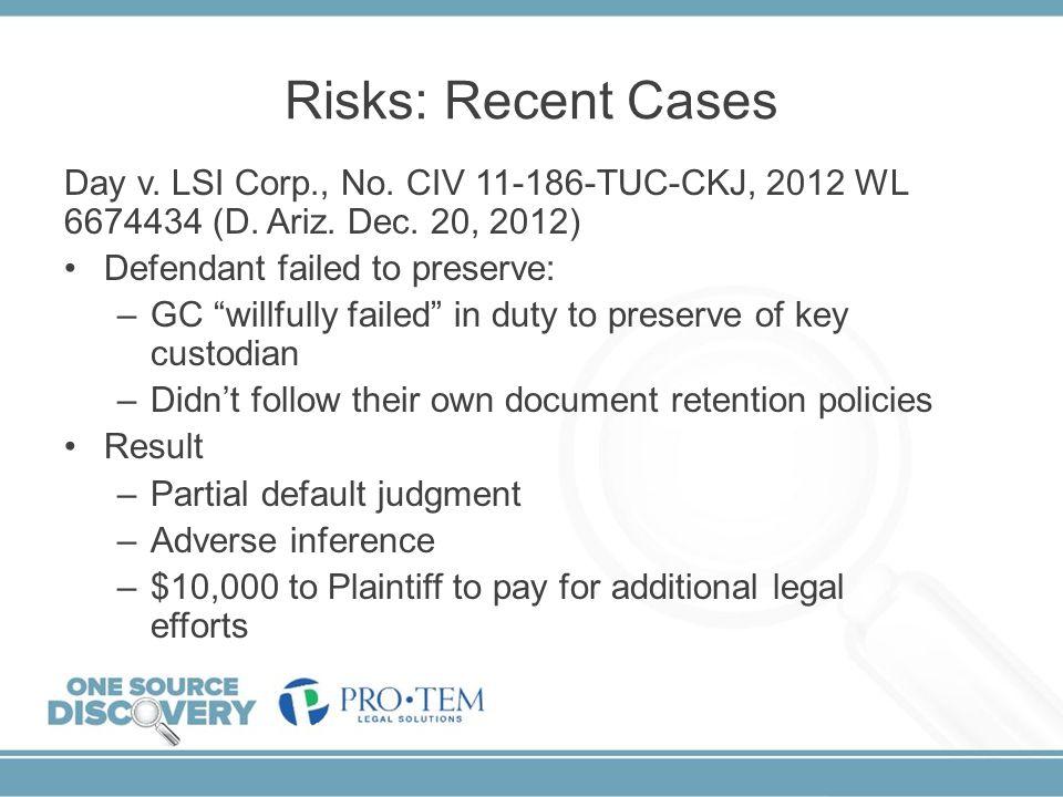 Risks: Recent Cases Day v. LSI Corp., No. CIV 11-186-TUC-CKJ, 2012 WL 6674434 (D. Ariz. Dec. 20, 2012)