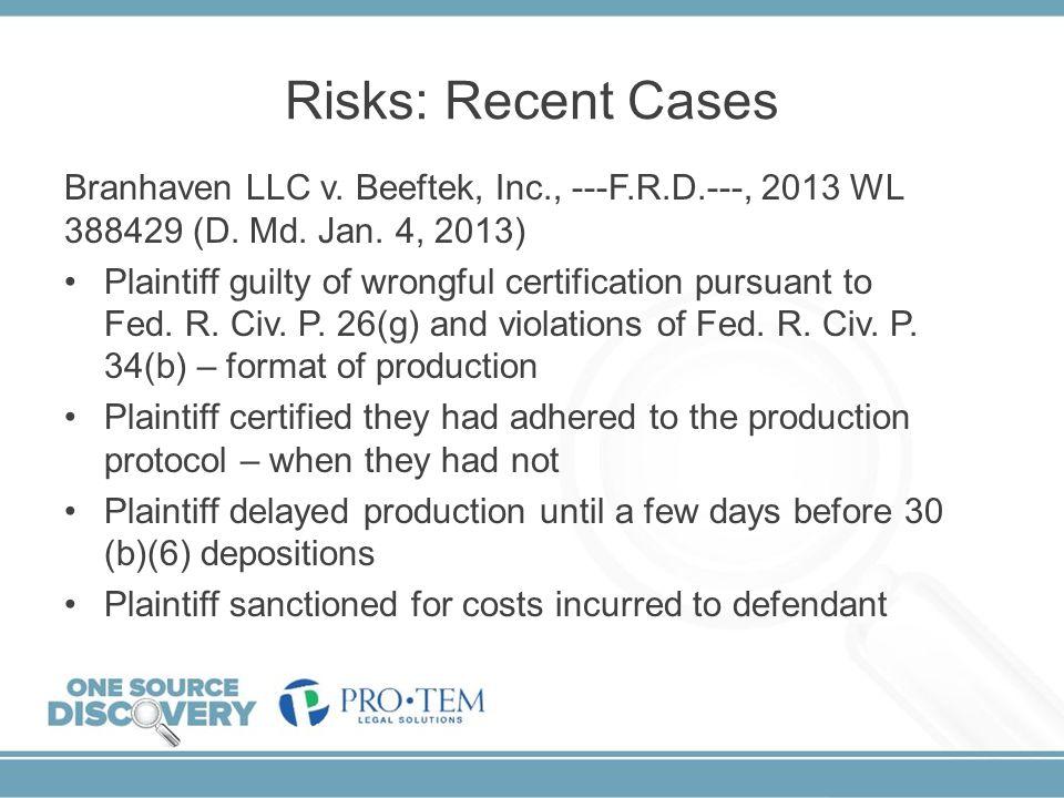 Risks: Recent Cases Branhaven LLC v. Beeftek, Inc., ---F.R.D.---, 2013 WL 388429 (D. Md. Jan. 4, 2013)