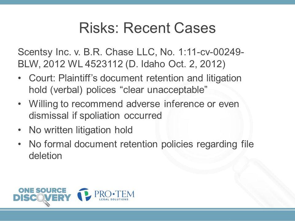 Risks: Recent Cases Scentsy Inc. v. B.R. Chase LLC, No. 1:11-cv-00249-BLW, 2012 WL 4523112 (D. Idaho Oct. 2, 2012)
