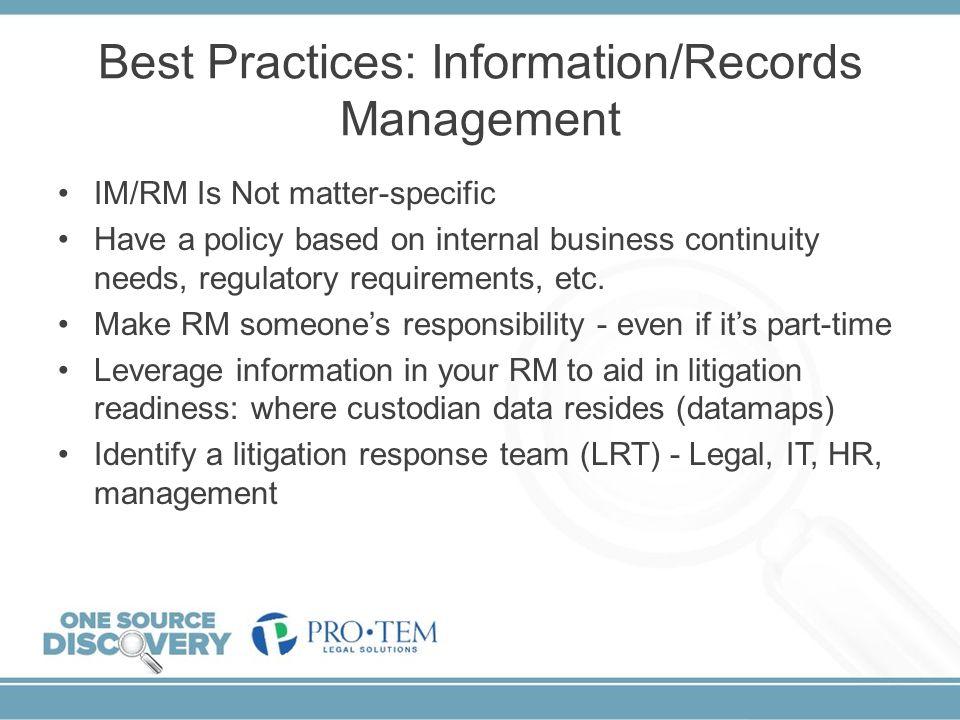 Best Practices: Information/Records Management