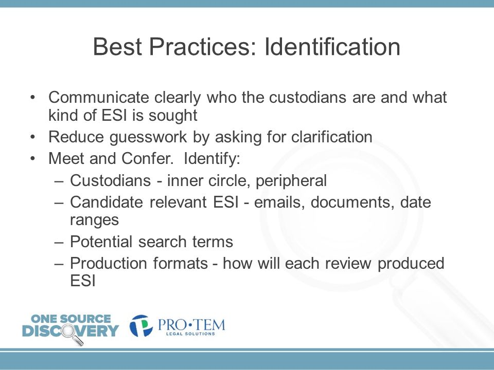 Best Practices: Identification