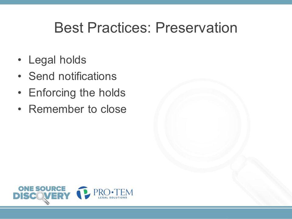 Best Practices: Preservation