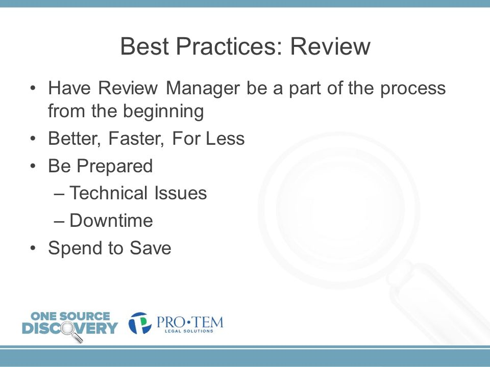 Best Practices: Review