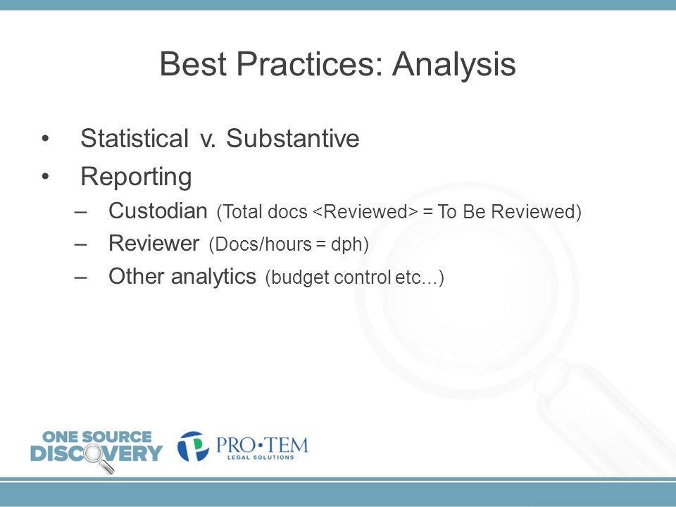 Best Practices: Analysis