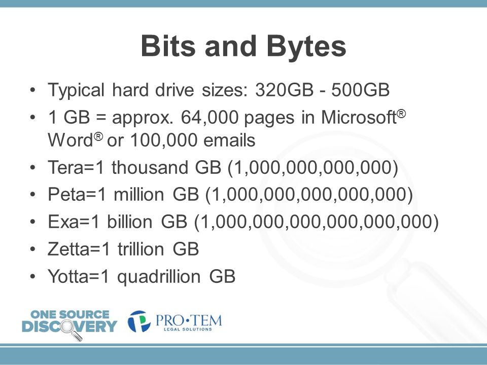 Bits and Bytes Typical hard drive sizes: 320GB - 500GB