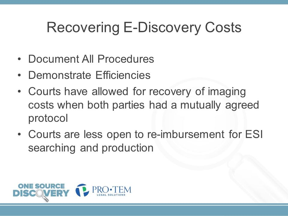 Recovering E-Discovery Costs