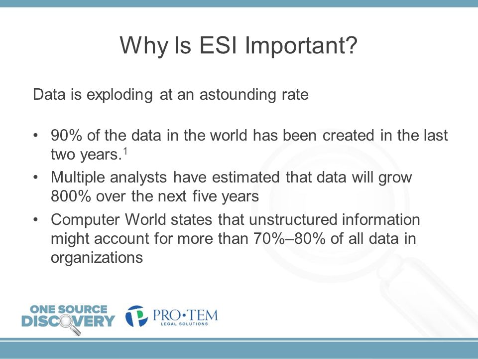 Why Is ESI Important Data is exploding at an astounding rate