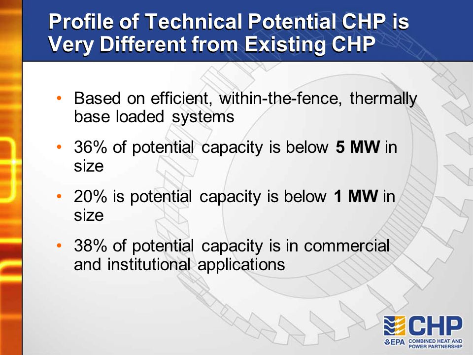 Profile of Technical Potential CHP is Very Different from Existing CHP