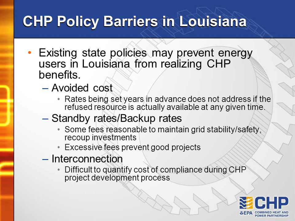 CHP Policy Barriers in Louisiana