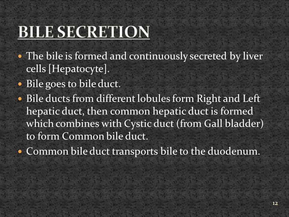 BILE SECRETION The bile is formed and continuously secreted by liver cells [Hepatocyte]. Bile goes to bile duct.