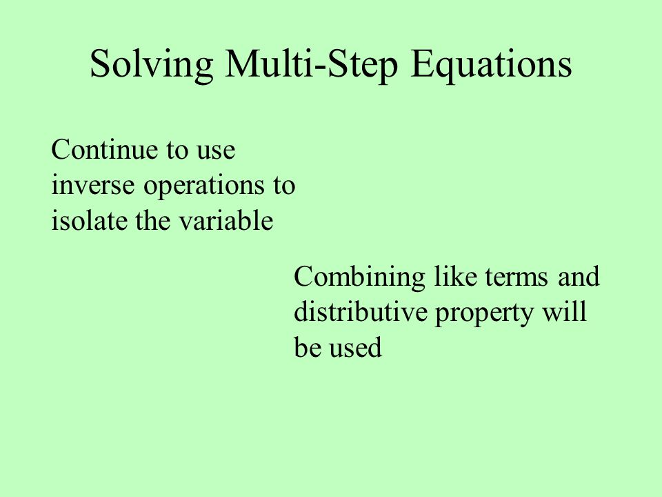 how to solve multi step equations with two variables