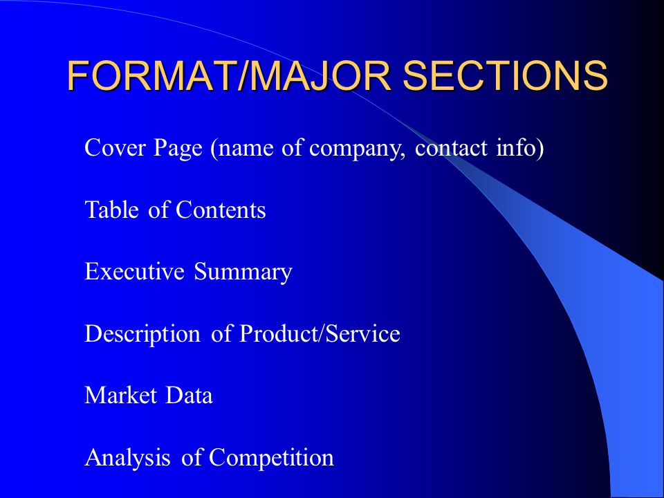 main sections of a business plan gc services