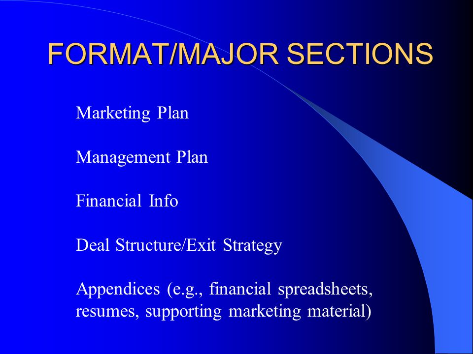 Major sections of the business plan