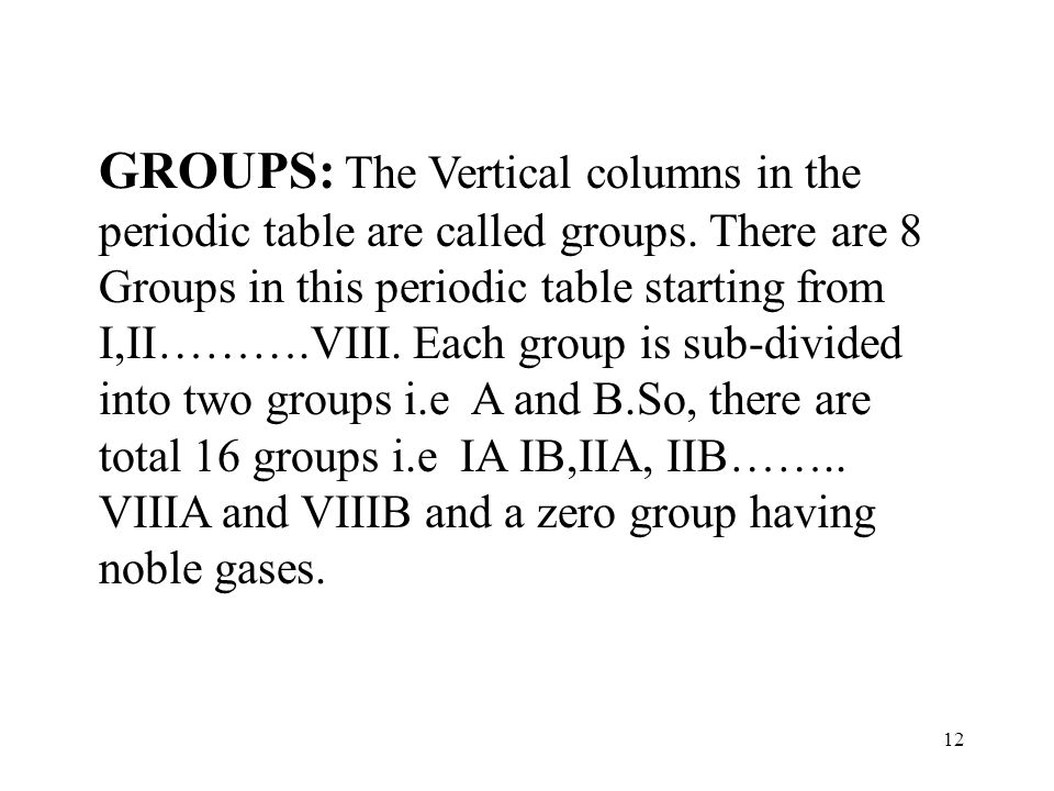 GROUPS: The Vertical columns in the periodic table are called groups