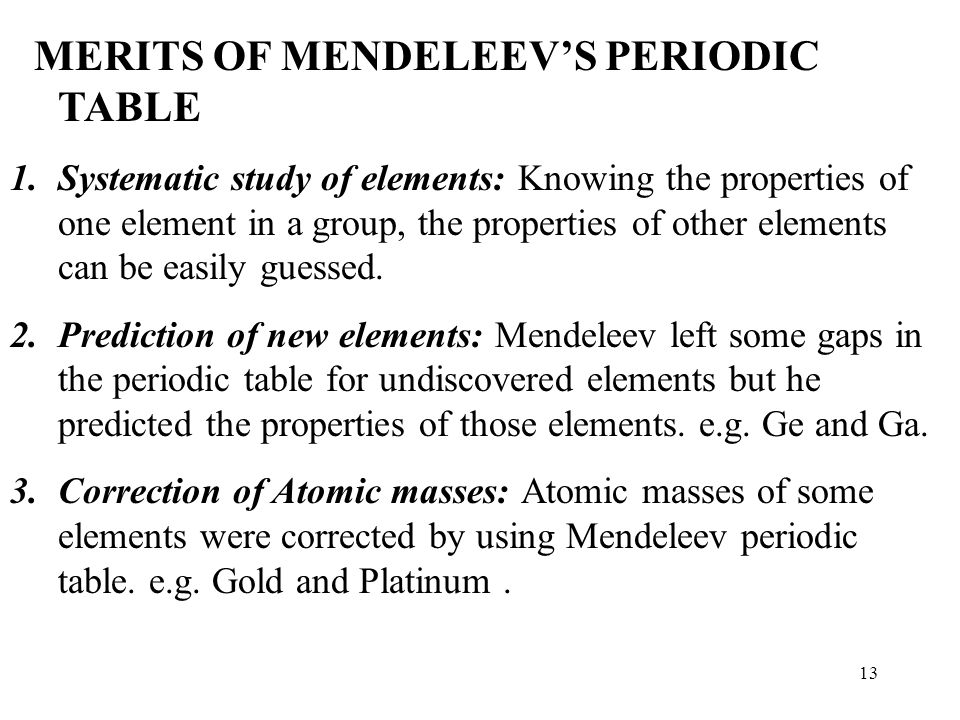 an analysis of periodic table by dimitri mendeleev Mendeleev's periodic table dmitri mendeleev like many scientists working at the end of the 19th-century the russian chemist dmitri mendeleev (1834-1907) was looking for ways to organise the known .