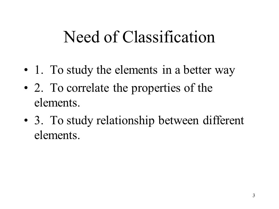 Need of Classification