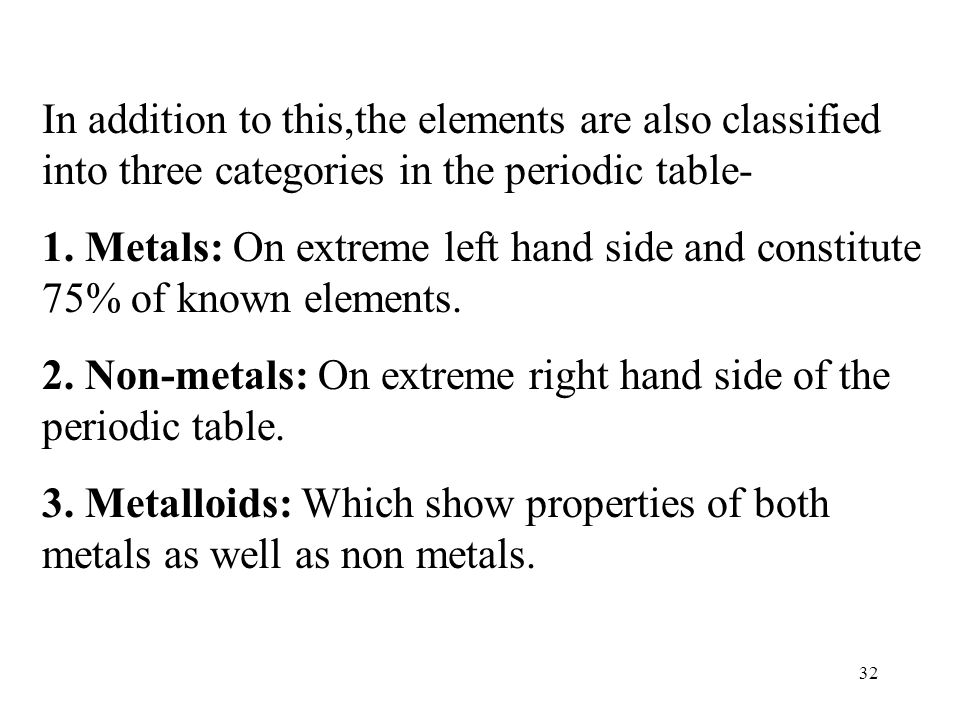 In addition to this,the elements are also classified into three categories in the periodic table-