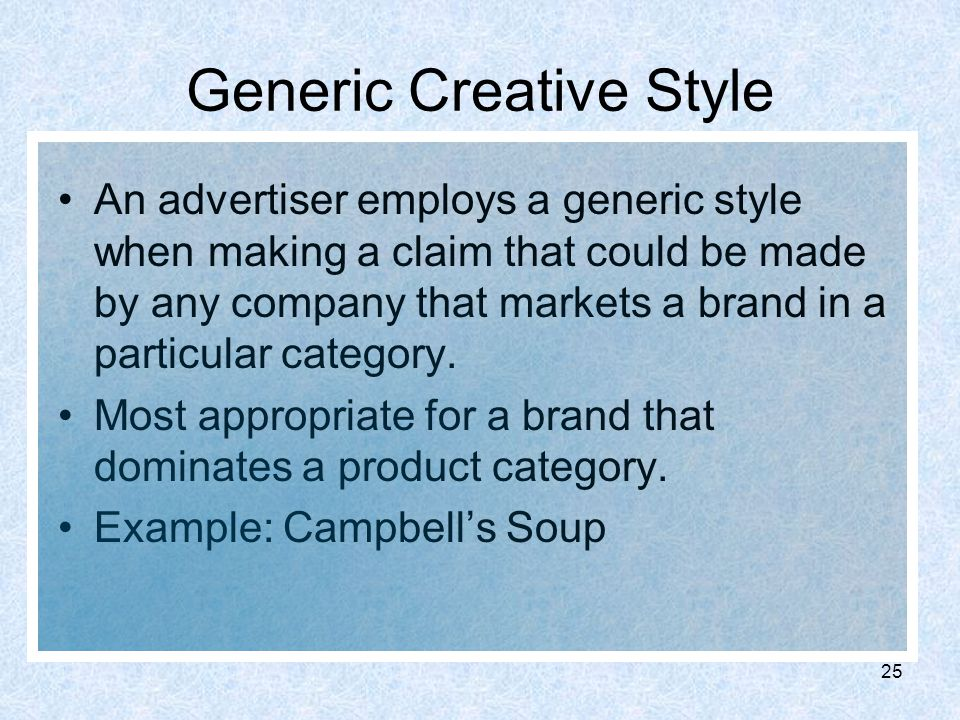 Generic Products Examples