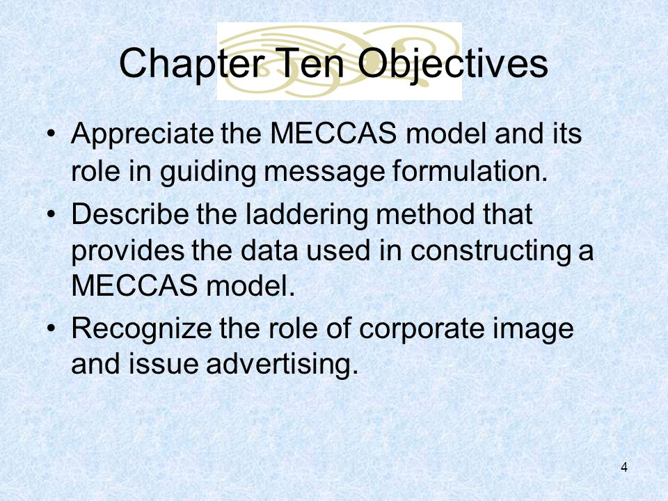 meccas model by looking at creative strategy advertising strategy and the means end chain