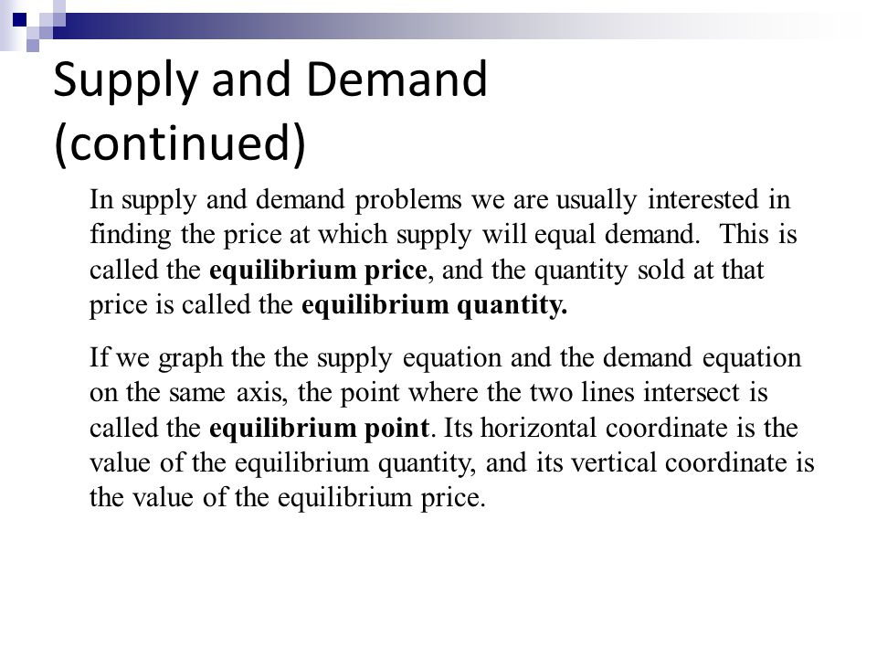 equilibrium problem set on supply demand Equilibrium: problem set on supply, demand, and price 2906 words | 12 pages test version a semester i examinations mid-term assessment econ 30110 microeconomics ii time allowed: 50 minutes.