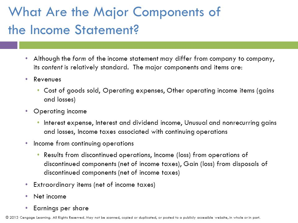 What Are The Major Components Of The Income Statement  Components Of An Income Statement