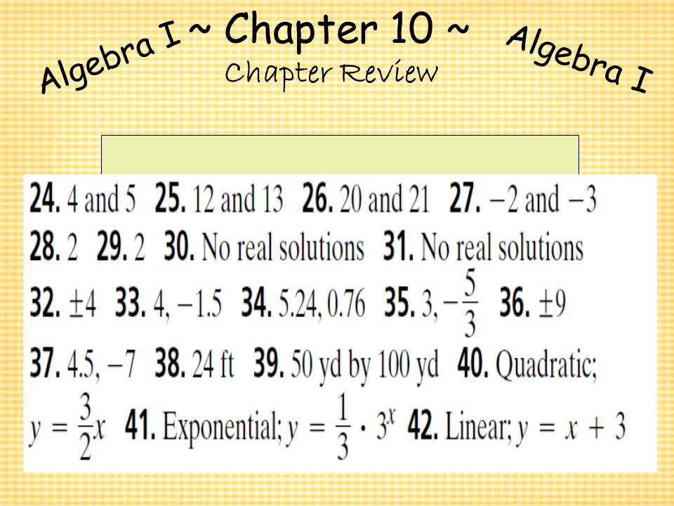 algebra i chapter review Quizlet provides test review chapter 1 algebra math review activities, flashcards and games start learning today for free.