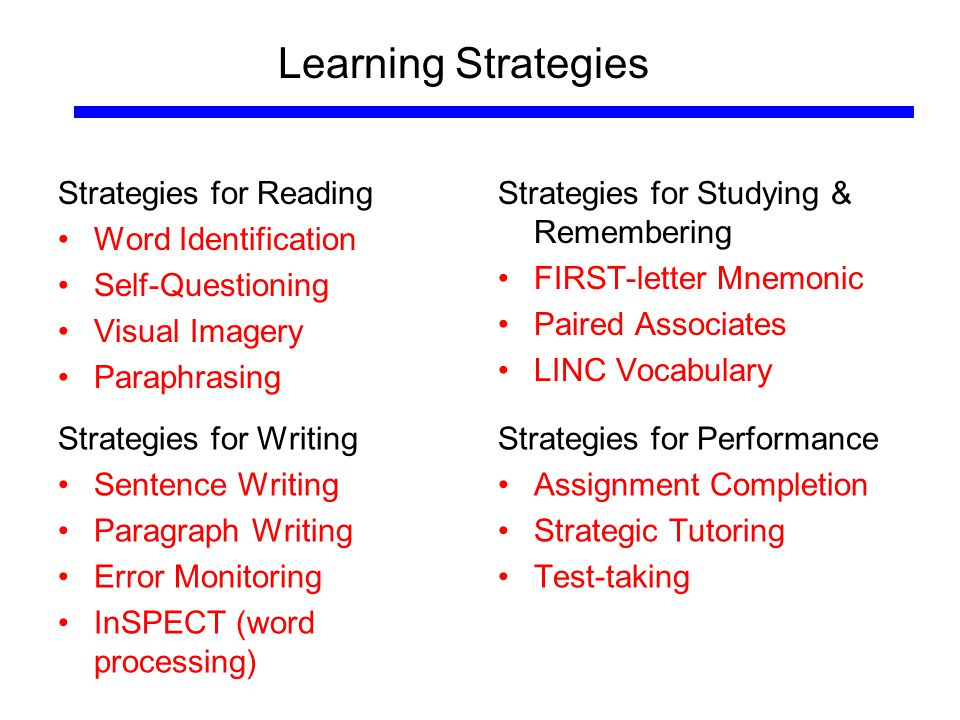 Learning Strategies Strategies for Reading Word Identification