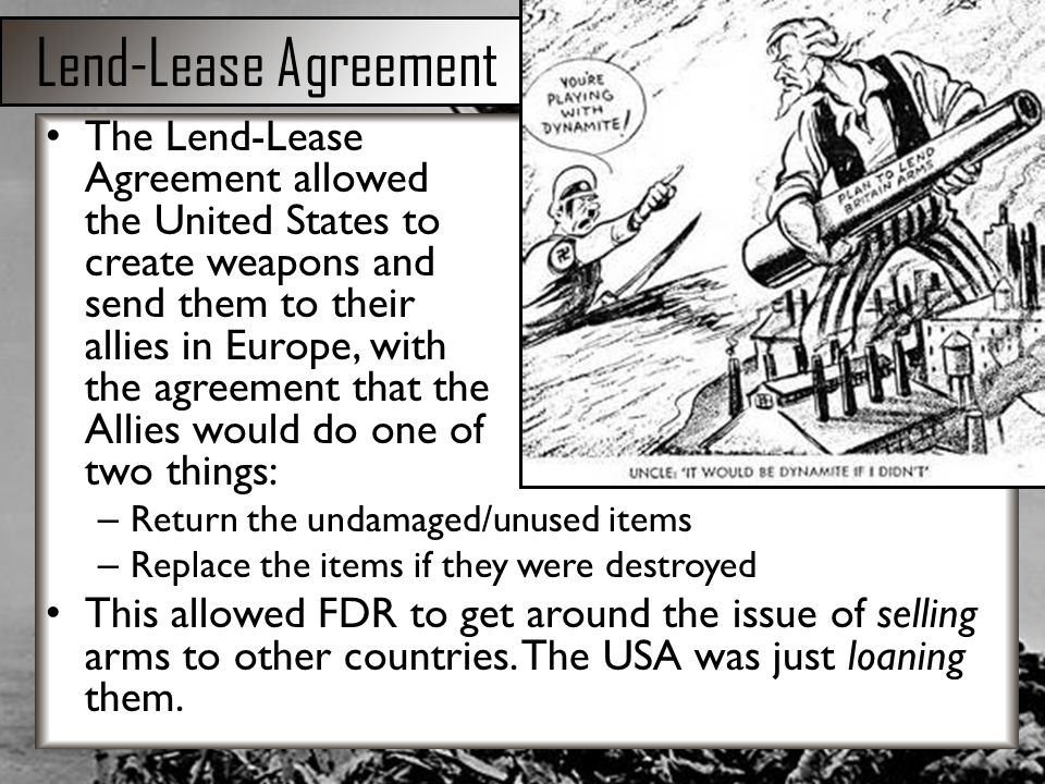 lend lease and united states Lend-lease was a program of the united states government put into place right before world war iithe united states was still trying to be neutral in the war, but wanted to give supplies to the allied powers (great britain, france and the soviet union.