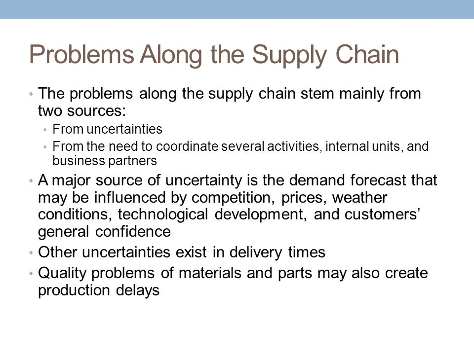 quality supply chain management as the solution to supply chain problems Problems in supply chain management1  problems in supply chain management 1  result in quality problems which can have significant knock-on effects.