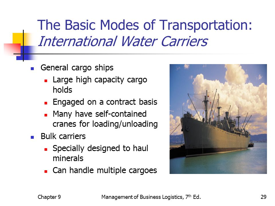 basic mode of transport Modes of transportation comparison in the chart below the six main modes of transporting products are compared for each of the key transportation features.