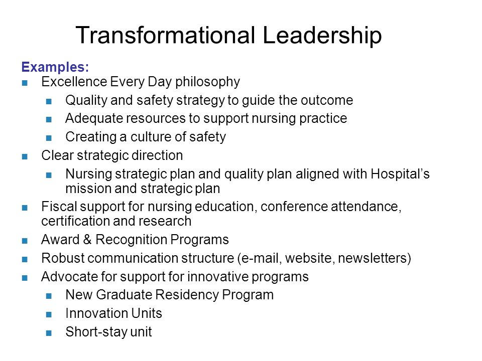 nursing leadership philosophy Nursing leadership theories: quantum, transformational, and dynamic leader-follower relationship model while there are several theories of nursing leadership, it's important to review those most applicable to the new nurse.