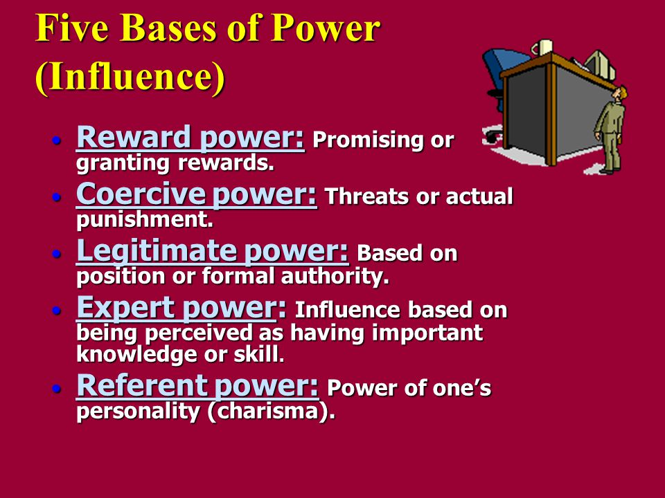 5 bases of power and leadership Leaders are nothing without the power which enables them to lead  and raven , in all their wisdom, identified five of these 'bases' of power.