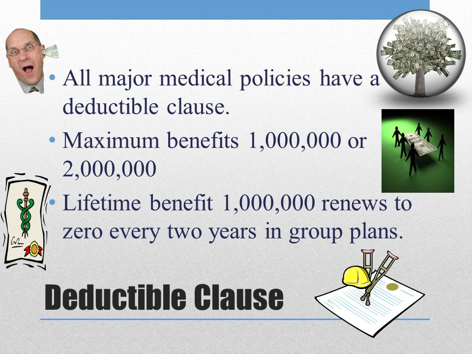 Deductible Clause All major medical policies have a deductible clause.