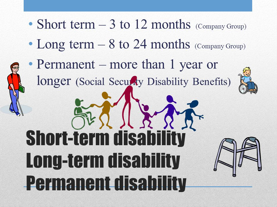 Short-term disability Long-term disability Permanent disability